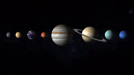 galaxie : Our solar system consists of the planets Mercury, Venus, Earth, Mars, Jupiter, Saturn, Uranus, Neptune, and Pluto with stars of the milky way galaxy on background Dostupné videozáznamy