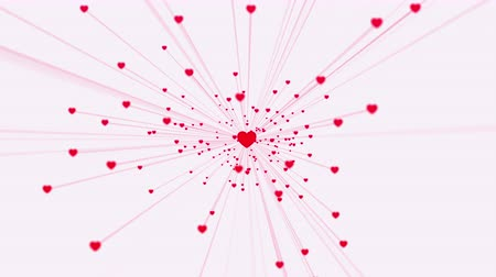 converge : Valentines Day video greeting card, a lot of hearts converge to a single one