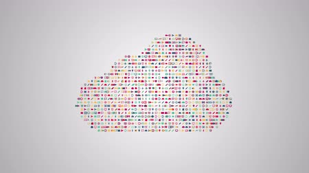 zęby : Cloud computing concept animation from sets of symbols of modern life
