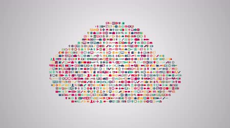 шифрование : Cloud computing concept animation from sets of symbols of modern life