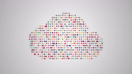безопасный : Cloud computing concept animation from sets of symbols of modern life