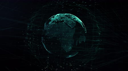 complexidade : global digital world, abstract 3D rendering of technology global data network surrounding earth conveying connectivity data flood of modern digital age