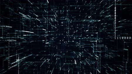 mikroişlemci : digital binary code background inside a microprocessor fly through abstract 3D rendering of a scientific technology data binary code