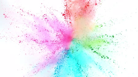 ação : Colorful powder exploding on white background in super slow motion.