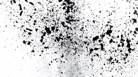 1000 : Black powder exploding on white background in super slow motion. 動画素材