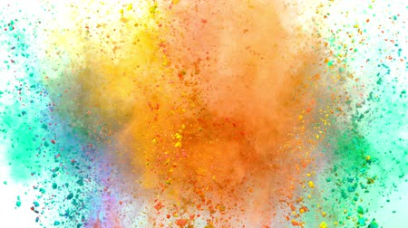 1000 : Colorful powder exploding on white background in super slow motion.