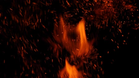 gyúlékony : Close-up of burning fire, flames burning on black background, slow motion