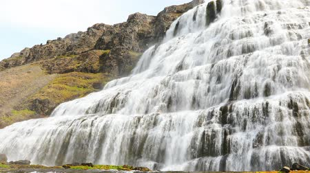 wilderness area : beautiful cascades of famous Dynjandi waterfall, Westfjords, Iceland