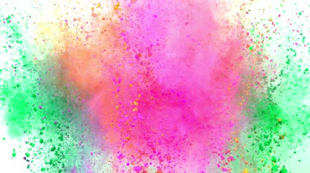 estouro : Colorful powder exploding on white background in super slow motion.