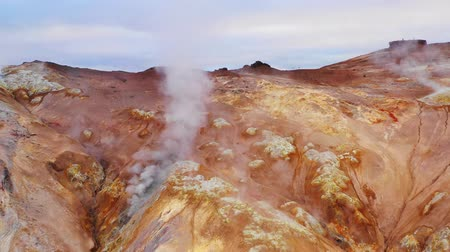 rugók : Sulfur hot springs, north Iceland, aerial view, Europe.
