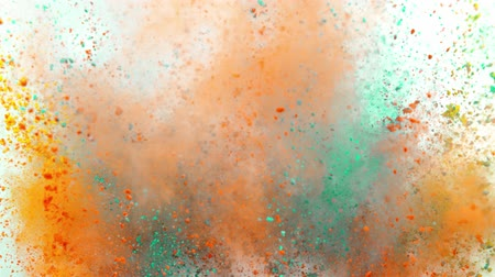 crush : Colorful powder exploding on white background in super slow motion.