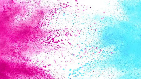 ezmek : Colorful powder exploding on white background in super slow motion.