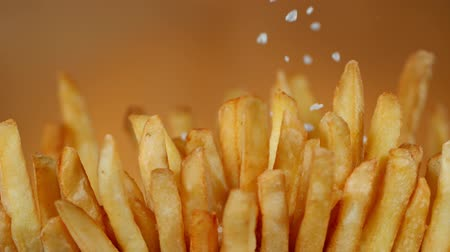 batatas fritas : Super Slow Motion Detail Shot of adding Salt on Fresh French Fries