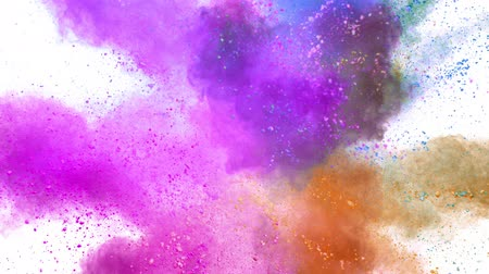 fireworks : Colorful powder exploding on white background in super slow motion.