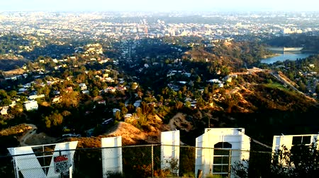 jel : Timelapse of Sunset over Hollywood Sign Stock mozgókép