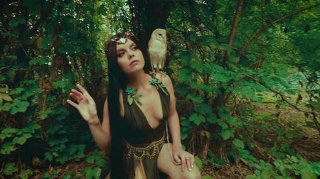 mysticism : A forest nymph with long dark hair walks with a white owl. A girl in an unusual green dress with a deep neckline and bare legs. Background wild nature