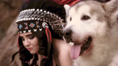 native american culture : indian girl is looking with disgustion Stock Footage