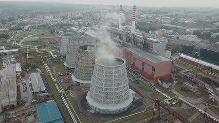 distillation : cooling towers aerial view, industrial area 01
