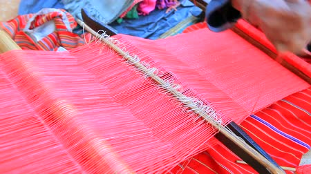 hill tribe : dara-ang thai hill tribe fabric weaver handmade with original textile yarn in doi ang-khang chiangmai northern of thailand