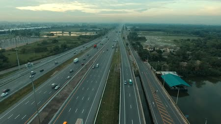 infra : aerial view of motorways and crossing road in bangkok thailand