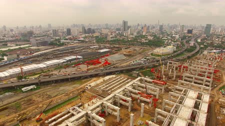 infra : aerial view of mega project of sky trains and land transportation in heart of bangkok thailand