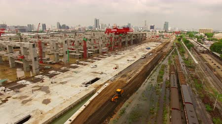 infra : mega project contruction site of trains and sky train land transportation in bangkok thailand