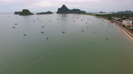 city resident : aerial view harbor of prachaupkhirikan southern of thailand Stock Footage
