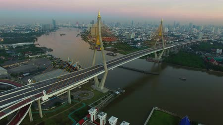 bakış : aerial view of bhumibol bridge in bangkok thailand Stok Video