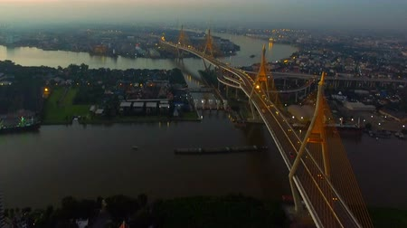 aerial view of bhumibol bridge in bangkok thailand 影像素材