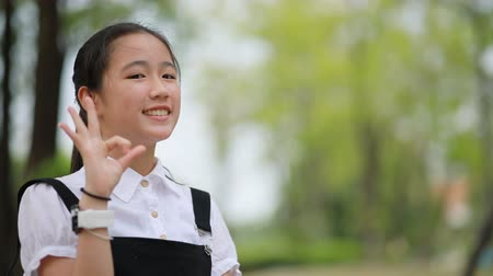 asian teenager hand sign all right with happiness smiling face in green park Стоковые видеозаписи
