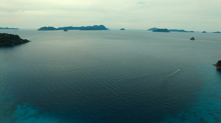 aerial view of nyang oo phee island andaman sea border thailand and myanmar Стоковые видеозаписи