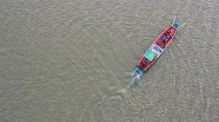 aerial view of fishery boat in chonburi eastern of thailand