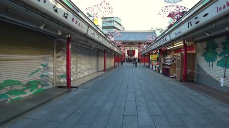 kaminarimon : Tokyo, Japan-January 4, 2018: A shopping street leads from the Main Hall to the Kaminarimon or Thunder Gate. It is so early in the morning that most shops are still closed and the street is empty.