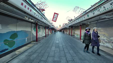 kaminarimon : Tokyo, Japan-January 4, 2018: A shopping street leads from the outer gate to the Main Hall. It is so early in the morning that most shops are still closed and the street is empty.