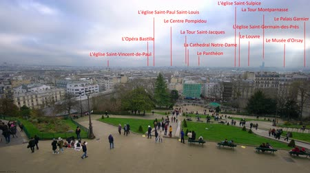připomínka : Paris, France-January 27, 2108: Panoramic view of Paris from Square Louise Michel, Montmartre, with annotation