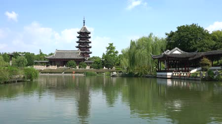 Suzhou,China-September 17, 2019: A pond and a garden in Nan Men, Suzhou, China
