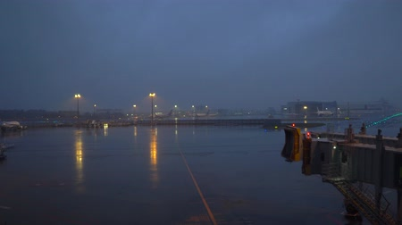 Narita,Japan-January 28, 2020: Narita international airport at the dawn in the rain