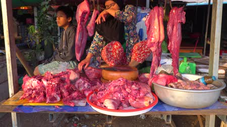 Preah Vihear,Cambodia-January 26, 2020: Open market meat shop at Sraaem Market along National Highway 62 in Preah Vihear province, Cambodia, in the morning