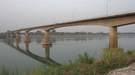 Udon Thani,Thailand-January 23, 2020: First Thai–Lao Friendship Bridge viewed from Nong Khai, Thailand