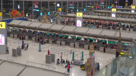 Bangkok,Thailand-January 25, 2020: Close-up of check-in counters of Suvarnabhumi Airport or New Bangkok International Airp Ort Stock Footage