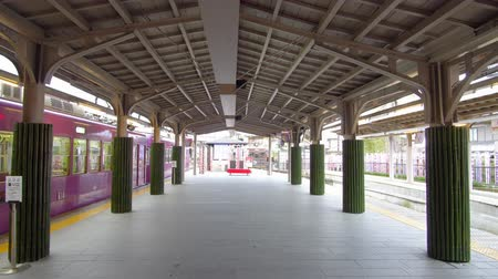 Kyoto,Japan-February 26, 2020: Randen Arashiyama station in the morning, Kyoto
