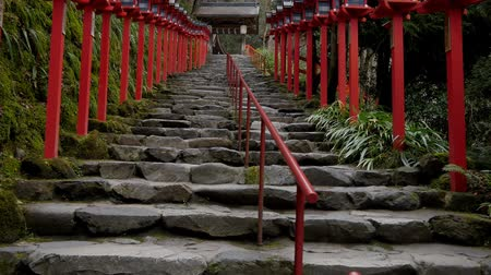 Kyoto,Japan-February 25, 2020: Stone steps at Kifune Shrine in Kyoto Stock Footage