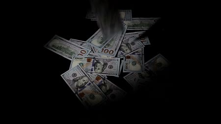 rakás : Falling one hundred dollars pile as black  background. Slow Motion. Stock mozgókép