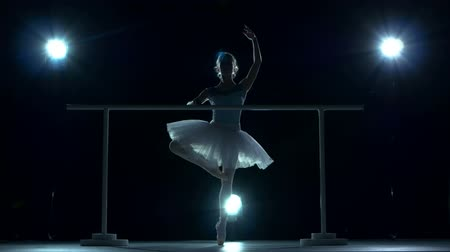 bale : Legs dancers on white pointe, near the choreographic training machine. Young ballerinas. Silhouette, blue background Stok Video