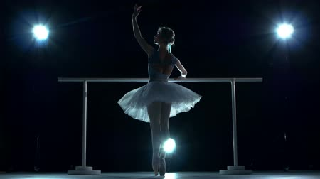 balerína : classic ballet dancer in white tutu posing on one leg at ballet barre on a blue background Dostupné videozáznamy