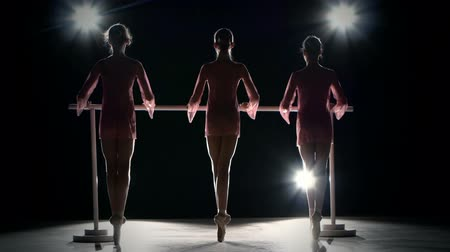 bale : Three little ballet girls in  tutu posing at ballet barre together in white studio