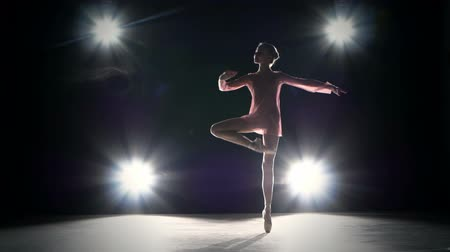 bale : Beautiful female ballet dancer on a grey background. Ballerina is wearing a  tutu and point shoes.