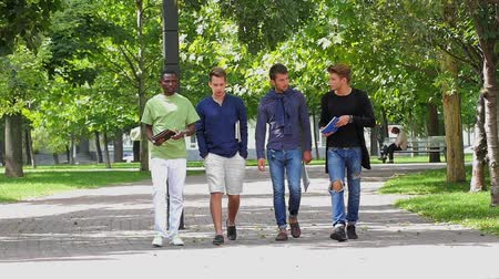 caminhada : Full length of happy college men students walking together on campus. slow motion