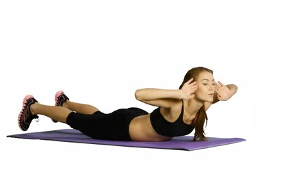 exercícios : Pretty girl in sphinx yoga pose isolated white background, stretching, Gym