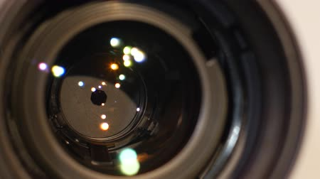 videocamera : Diaphragm of a camera lens aperture, close up, open, macro Stock Footage